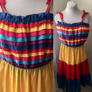 VTG 70's *Size S* Tiered Rainbow Striped Sundress